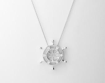 18K White Gold Diamond Sailor Wheel Pendant