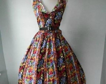 Victorian Floral Rose Nu-Mode 50s 80s Lucy Pinup Tea Party Full Skirt Shirt Sun/Day Dress