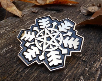 The Pentagram Snowflake Enamel Pin