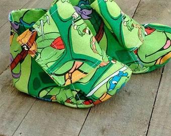 Ninja turtle inspired baby booties, ninja turtle baby shoes, baby boy shoes, baby shower gift