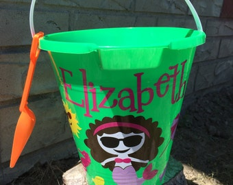sand pail- personalized beach bucket- sand bucket- beach pail- mermaid beach pail- girls beach bucket sand pail sand bucket- beach pail-