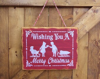 """WISHING You a MERRY CHRISTMAS.... Holiday, Rustic, Country, Vintage, Decorative Wooden Sign, 9.25"""" X 12"""", Home Decor, Holiday Decor"""