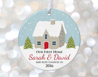 Our First Home Christmas Personalized Ornaments, Housewarming Gift Ideas, First House New Home Gift, Hostess Gift, Newlywed Christmas Gift