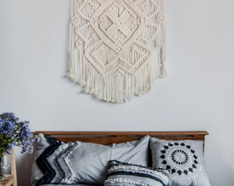 Macrame wall hanging, vintage macrame, macrame wall art, boho decor, macrame wall decor, bohemian wall hanging, ivory macrame Ethnic Pattern
