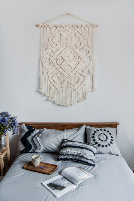 Macrame wall hanging vintage macrame macrame wall art boho for Ethnic bedroom ideas