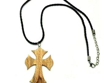 Handmade wooden Cross necklace.