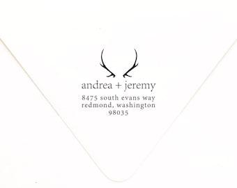 FREE SHIPPING // Antler Return Address Stamp // Personalized Address Stamp // Return Address Stamp // Rustic Invitation Stamp // Hunting