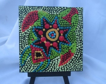 Aboriginal inspired Art,Acrylic Dot painting, Aboriginal painting, original mini 4 x 4 canvas,Small painting, Sea Turtle green #345