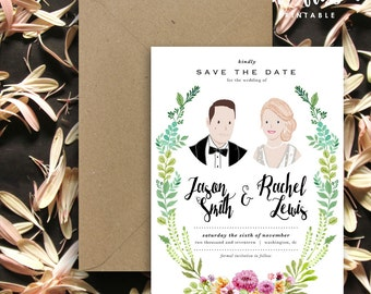 Custom Illustrated Couple Portrait Save the Date Card | Wedding Invitation Portrait | Couple Portrait