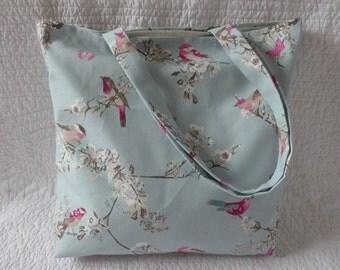 Handmade Tote Bag Reusable Eco Shopping Bag Blue Pink 100% Cotton Bird Print