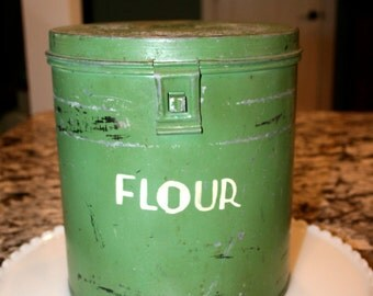Galvanized Canister Set//Green Canister Set//Industrial ~ Retro Canisters//Vintage Canister Set