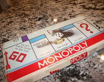 1961 Monopoly Board Game//By Parker Brothers//Real Estate Trading Game//Vintage Board Game
