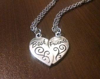 Best Friends Broken Heart Necklace - Silver Necklace - Jewelry