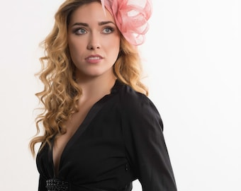 Wedding fascinator, Dusky pink fascinator, bridal headpiece