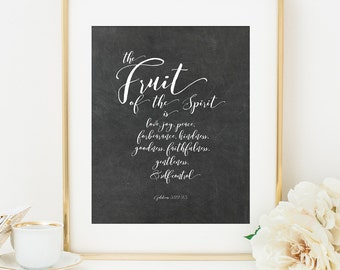 Fruit of the Spirit Wall Art Printable, Bible Verse Scripture Printable Art Print, 8x10, Calligraphy Print, Chalkboard Sign, Galatians 5