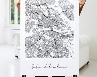 Stockholm Map Print, Fine Art Print, Modern, Minimal Wall Art for the Home Decor