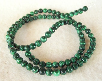 "Very Nice 15"" Strand of 4mm Round Malachite Dyed Stone Beads With Rich Green Colors"