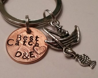 """Personalized Wedding Gift, Anniversary Key Ring, """"My Best Catch"""" Custom Key Ring, Gift for Groom, Gift for Bride, Anniversary Gift Ideas"""