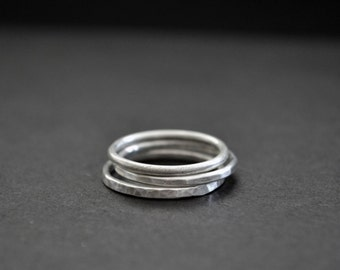 Set of 3 -Stacking Rings - Sterling Silver - Matte - Hammered - Textured Finish - 925