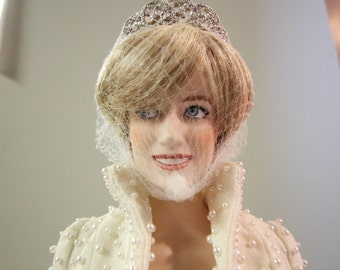 Franklin Mint Porcelain Princess Diana Portrait Doll, Collectible Replica