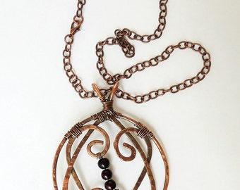 Double Heart Copper Pendant