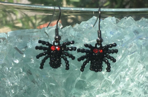 Black Spider  Earrings