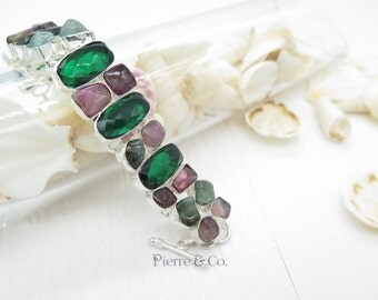 Emerald Quartz and Tourmaline Sterling Silver Bracelet