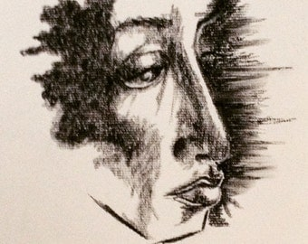 Charcoal Abstract Portrait (Woman's Profile)