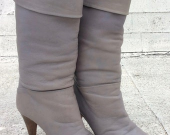 Vintage Gray Leather Foldover Heeled Pirate Boots, 6