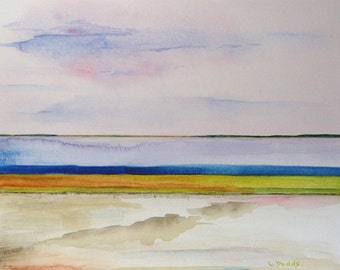 """Original Small Abstract Watercolor Painting 8"""" x 10""""  'Horizons'  Creative Landscape Design"""