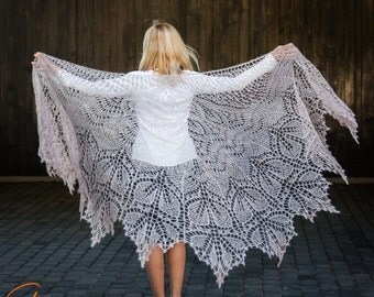 Hand knit shawl, Oversized lace shawl, Mohair lace wrap, Bridal shawl, Bridesmaid stole, Mohair shawl, Wedding shawl,  Knit wrap, Boho shawl