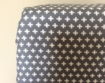 CRIB SHEET grey and white plus signs/ crosses fitted sheet, modern nursery bedding, baby gift, crib bedding