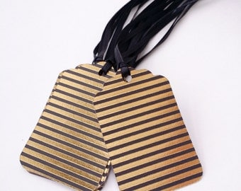 CLEARANCE - Set of 12- Black & Gold Foil Striped Tags - Ready to ship