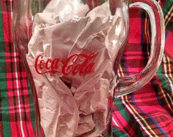 """Large Vintage Soda fountain Coca Cola Coke glass original pitcher, 10"""" tall, heavy glass, coca cola, coke, coke pitcher, coca cola pitcher"""
