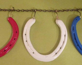 Horseshoes,Hanging Style Horseshoes, Patriotic, RED, WHITE, and BLUE  With Chain and Hooks