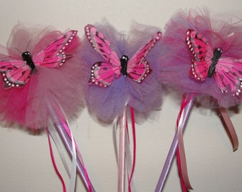 Tulle Poof Butterfly Wand - Set of 3
