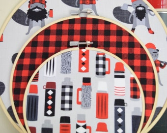 Lumberjack Wall Decor 3 Piece Set//Thermos, Plaid, Beavers//Embroidery Hoops