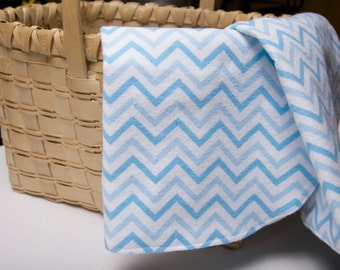 READY TO SHIP Flannel Burp Cloth Set of 2 in Blue & White Chevron, Baby Boy, New Mom, New Parent, Baby Shower Gift, Soft Flannel, Baby Gift