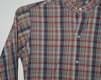 Vintage rust/blue plaid button down shirt