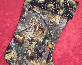 Wildlife Camouflage Christmas Stocking With A Black & Gold Cuff