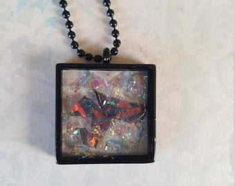 Faux Dichroic Glass Iridescent Necklace Glitter Square One Inch Resin Pendant