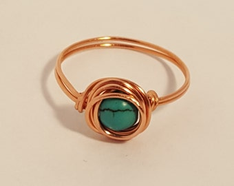 Natural Turquoise Gemstone and Pure Copper Ring! Hand Made to Order