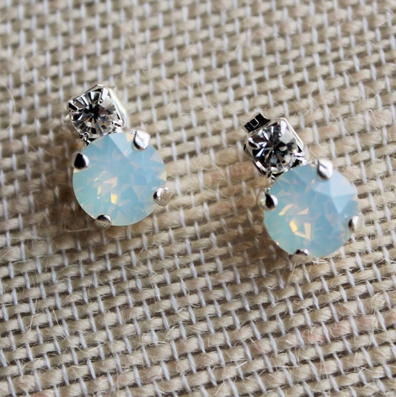 Delicate 8mm Swarovski Crystal Earrings in White Opal with Swarovski Rhinestone accents