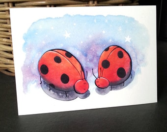 Ladybird Card, Greetings Card, Blank Greetings Card, Art Card, Illustrated, Quirky Ladybirds, Wedding Card, Couples Card, Anniversary Card