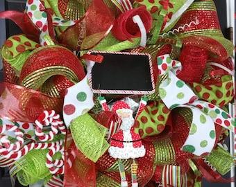Christmas Wreath - Winter Wreath - Front Door Wreath - Santa Wreath