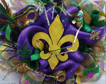 Mardi Grad Wreath - Front Door Wreath - Wreaths - Fleur De Lis Mardi Gras Deco Mesh Wreath - Mardi Gras Deco Mesh Wreath