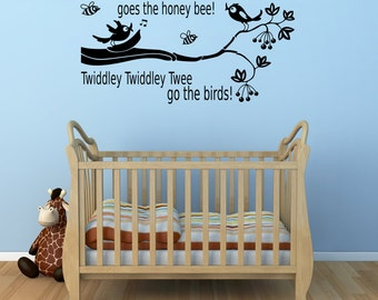 Buzz Buzz Buzz Goes The Honey Bee Vinyl Wall Decal Childrens Bedroom Sticker