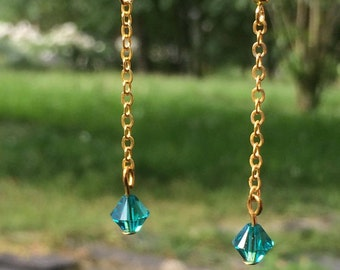Dangling chain earrings gold and Pearl swarovski
