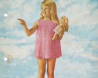 Vintage  Chrochet Pattern - Child's Dress -  Instant Download PDF - 4 Ply