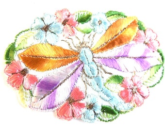 Antique silk Dragonfly Applique, 1930s embroidered dragonfly Vintage patch, sewing supply. Applique, Crazy quilt. #645GB9K1B